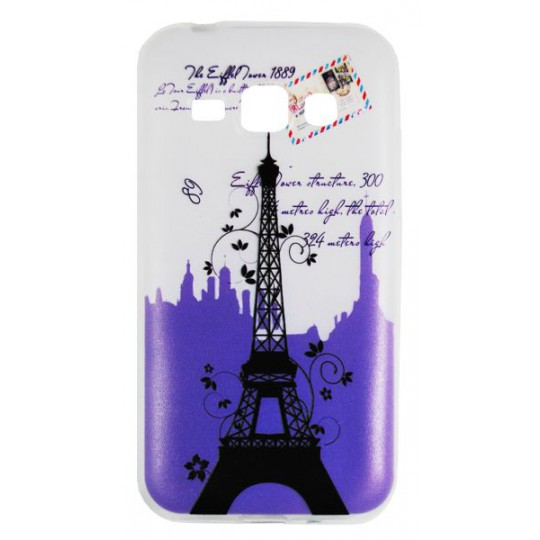 Samsung Galaxy J1 - Gumiran ovitek (TPUP) - Purple Eiffel tower