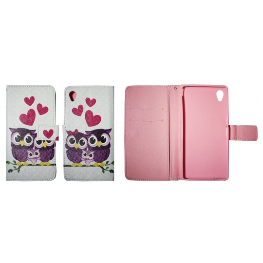 Sony Xperia M4 Aqua - Preklopna torbica (WLGP) - Owls in love