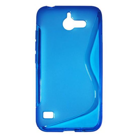 Huawei Ascend Y550 - Gumiran ovitek (TPU) - modro-prosojen SLine