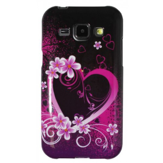 Samsung Galaxy J1 - Gumiran ovitek (TPUP) - Black pink heart