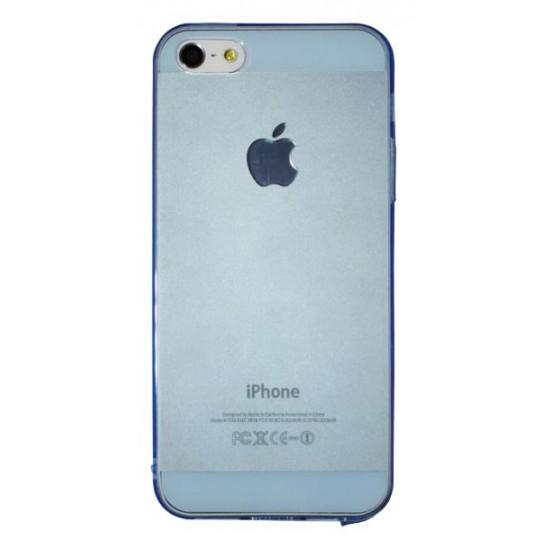 Apple iPhone 5/5S/SE - Gumiran ovitek (TPUA) - modro-prosojen