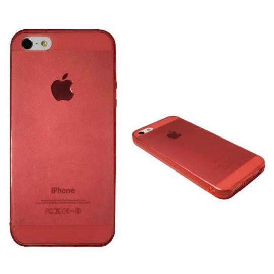 Apple iPhone 5/5S/SE - Gumiran ovitek (TPUA) - rdeče-prosojen