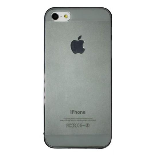 Apple iPhone 5/5S/SE - Gumiran ovitek (TPUA) - sivo-prosojen