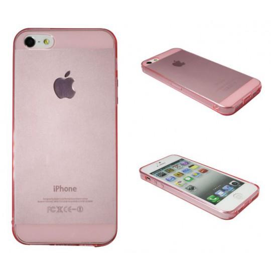 Apple iPhone 5/5S/SE - Gumiran ovitek (TPUA) - svetlo roza-prosojen