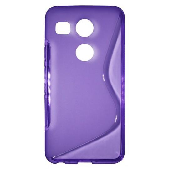 LG Nexus 5X - Gumiran ovitek (TPU) - vijolično-prosojen SLine