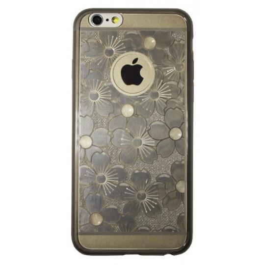 Apple iPhone 6/6S - Gumiran ovitek (21rožice) - siv