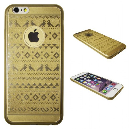 Apple iPhone 6/6S - Gumiran ovitek (21vzorec) - zlat