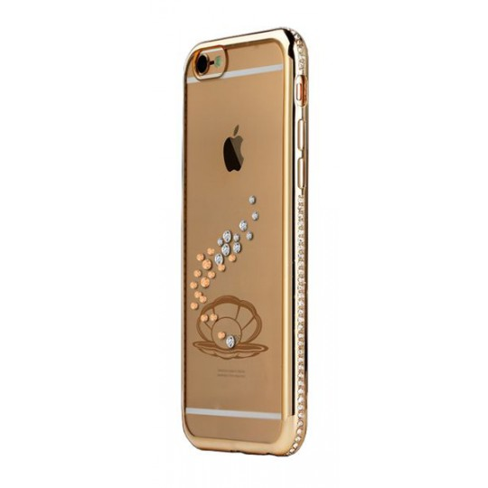 Apple iPhone 6/6S - Gumiran ovitek (TPUD) - zlata školjka