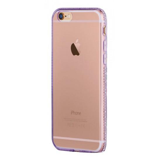 Apple iPhone 6/6S - Gumiran ovitek (TPUD) - rob vijoličen