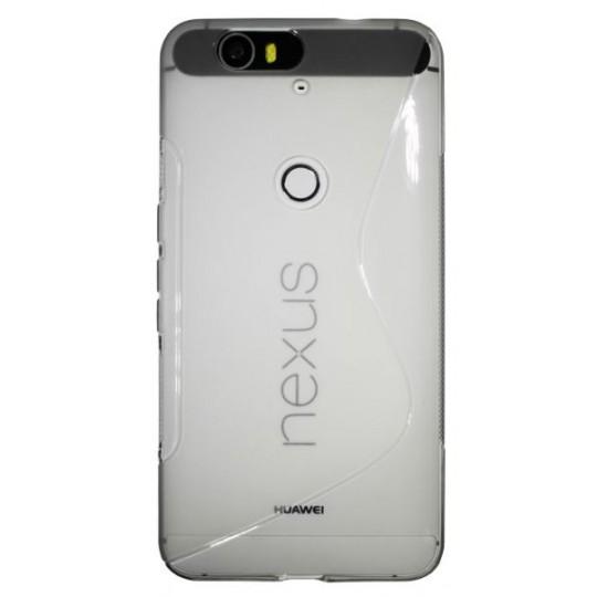 Huawei Nexus 6P - Gumiran ovitek (TPU) - belo-prosojen SLine