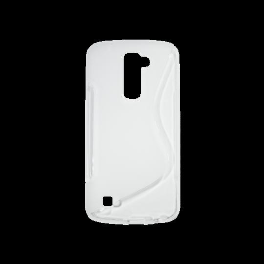 LG K10 - Gumiran ovitek (TPU) - belo-prosojen SLine