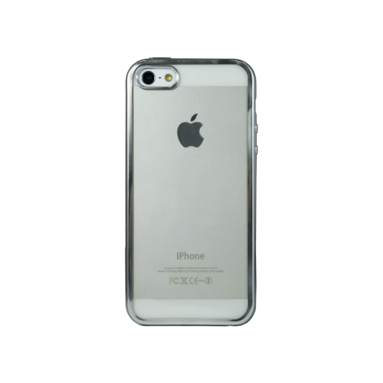 Apple iPhone 5/5S/SE - Gumiran ovitek (TPUE) - rob srebrn