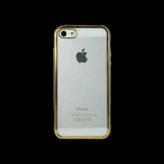 Apple iPhone 5/5S/SE - Gumiran ovitek (TPUE) - rob zlat