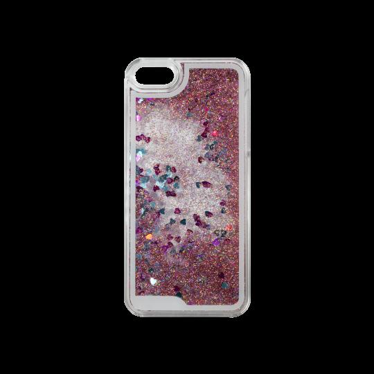 Apple iPhone 5/5S/SE - Okrasni pokrovček (polnilo srčki) - roza