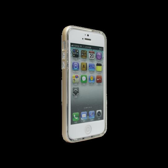 Apple iPhone 5/5S/SE - Gumiran ovitek (TPU+ALU) - zlat