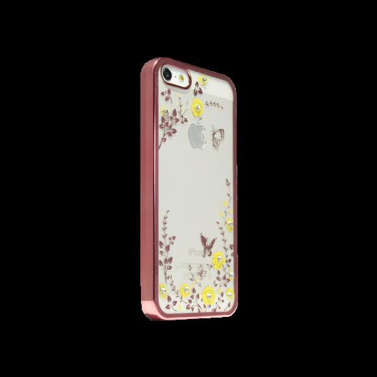 Apple iPhone 5/5S/SE - Gumiran ovitek (TPUE) - roza rob - rumene rožice