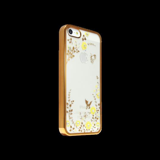 Apple iPhone 5/5S/SE - Gumiran ovitek (TPUE) - zlat rob - rumene rožice