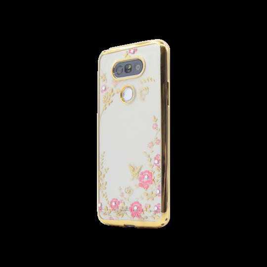 LG G5/G5 SE - Gumiran ovitek (TPUE) - zlat rob - roza rožice