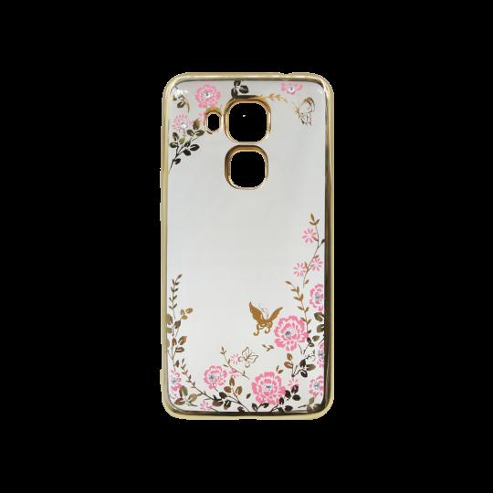 Huawei nova plus - Gumiran ovitek (TPUE) - zlat rob - roza rožice