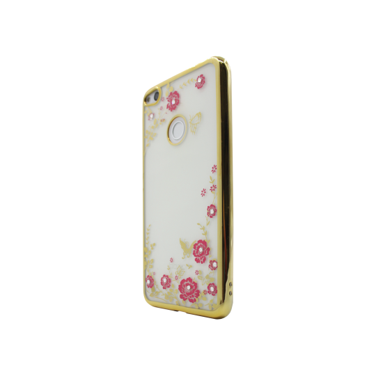 Huawei Honor 8 Lite/8 Lite (2017)/P9 Lite (2017)/ Nova Lite - Gumiran ovitek (TPUE) - zlat rob - roza rožice