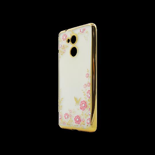 Huawei Nova Smart/Enjoy 6S/Honor 6C - Gumiran ovitek (TPUE) - zlat rob - roza rožice