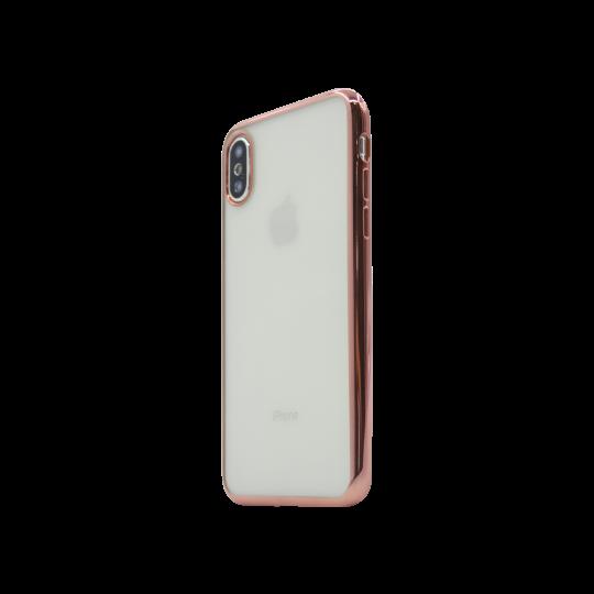 Apple iPhone X / XS - Gumiran ovitek (TPUE) - rob roza-zlat