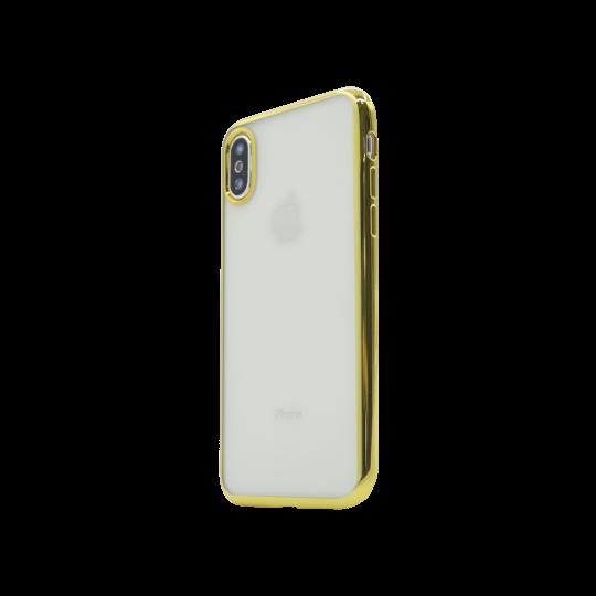Apple iPhone X / XS - Gumiran ovitek (TPUE) - rob zlat