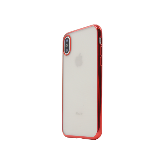 Apple iPhone X / XS - Gumiran ovitek (TPUE) - rob rdeč