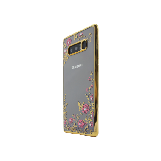 Samsung Galaxy Note 8 - Gumiran ovitek (TPUE) - zlat rob - roza rožice