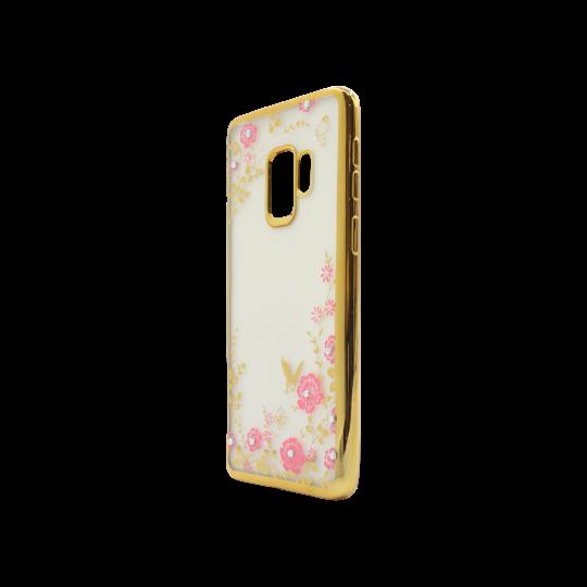 Samsung Galaxy S9 - Gumiran ovitek (TPUE) - zlat rob - roza rožice