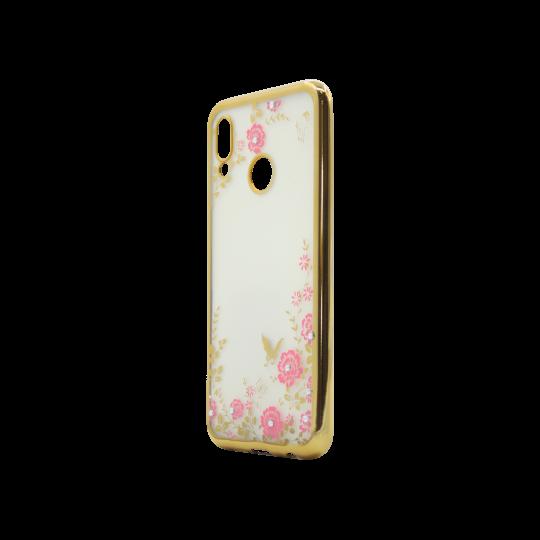 Huawei P20 Lite - Gumiran ovitek (TPUE) - zlat rob - roza rožice