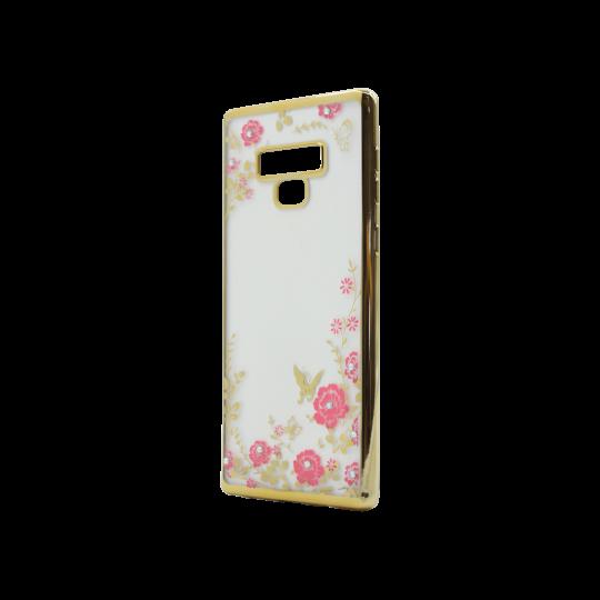 Samsung Galaxy Note 9 - Gumiran ovitek (TPUE) - zlat rob - roza rožice