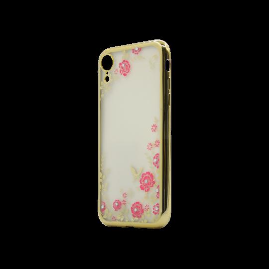 Apple iPhone XR - Gumiran ovitek (TPUE) - zlat rob - roza rožice