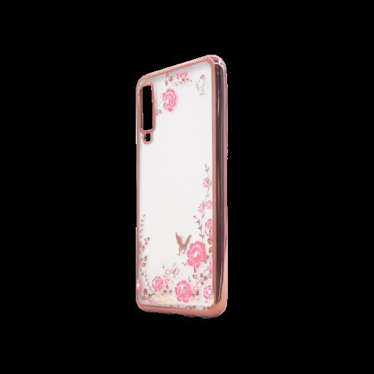 Samsung Galaxy A7 (2018) - Gumiran ovitek (TPUE) - roza rob - roza rožice