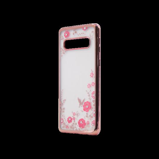 Samsung Galaxy S10 - Gumiran ovitek (TPUE) - roza rob - roza rožice