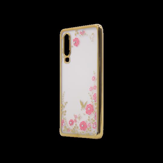 Huawei P30 - Gumiran ovitek (TPUE) - zlat rob - roza rožice