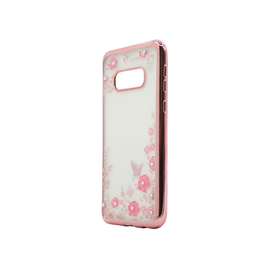 Samsung Galaxy S10e - Gumiran ovitek (TPUE) - roza rob - roza rožice