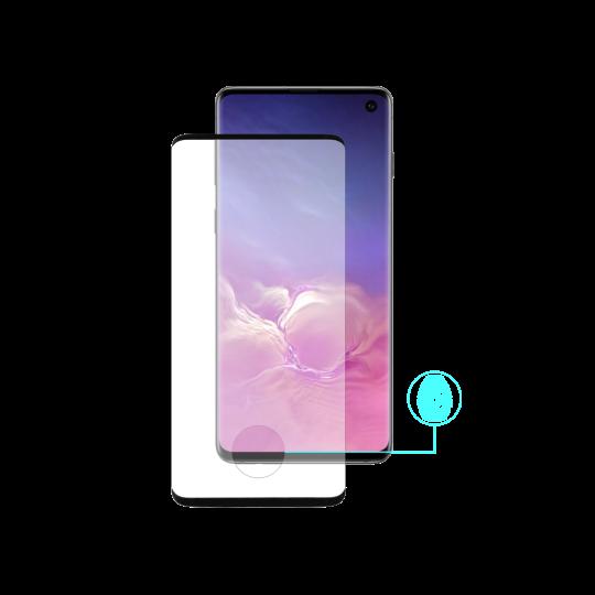 Samsung Galaxy S10 - Zaščitno steklo Premium (0,25) - Case Friendly - z lepilom, ki prevaja ultrazvok bralnika prstnih odtisov - črno
