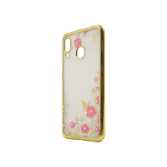 Samsung Galaxy A20 / A30 - Gumiran ovitek (TPUE) - zlat rob - roza rožice