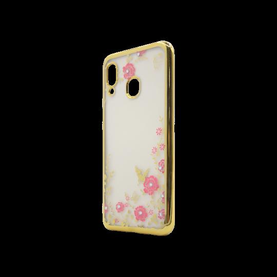 Samsung Galaxy A40 - Gumiran ovitek (TPUE) - zlat rob - roza rožice