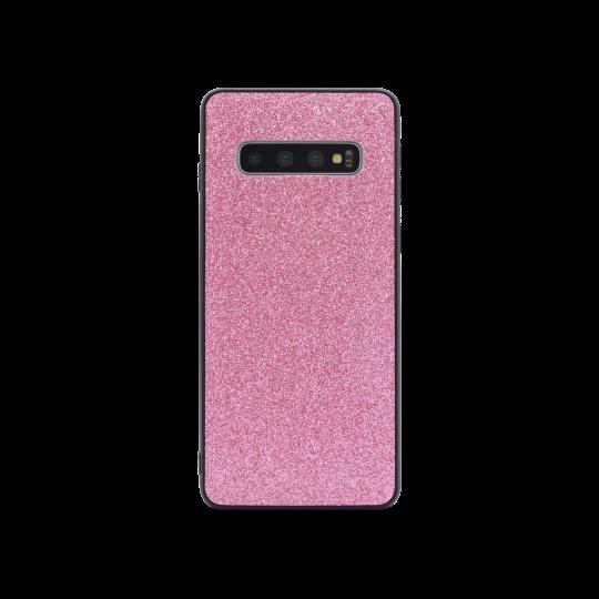 Samsung Galaxy S10 - Gumiran ovitek z bleščicami (PCB) - roza