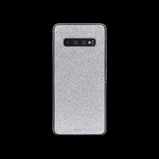 Samsung Galaxy S10 - Gumiran ovitek z bleščicami (PCB) - srebrna