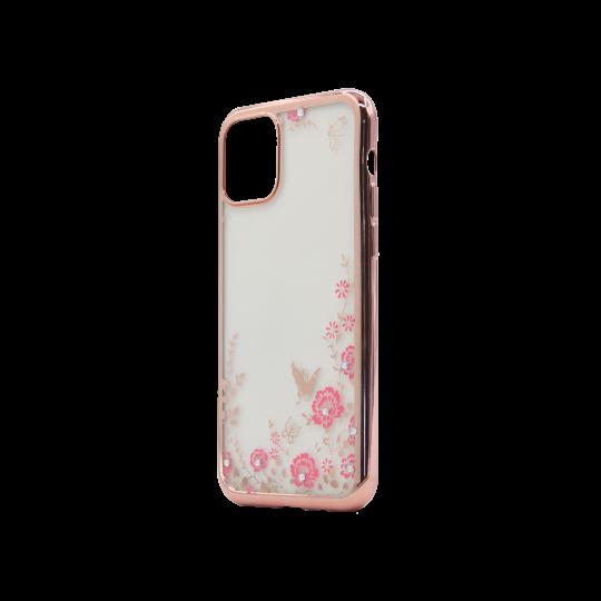 Apple iPhone 11 Pro - Gumiran ovitek (TPUE) - roza rob - roza rožice