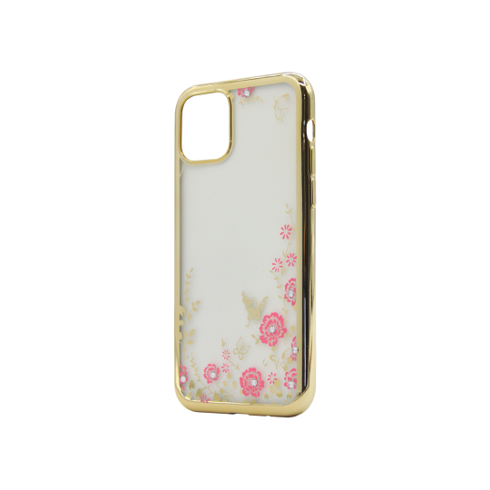 Apple iPhone 11 Pro - Gumiran ovitek (TPUE) - zlat rob - roza rožice