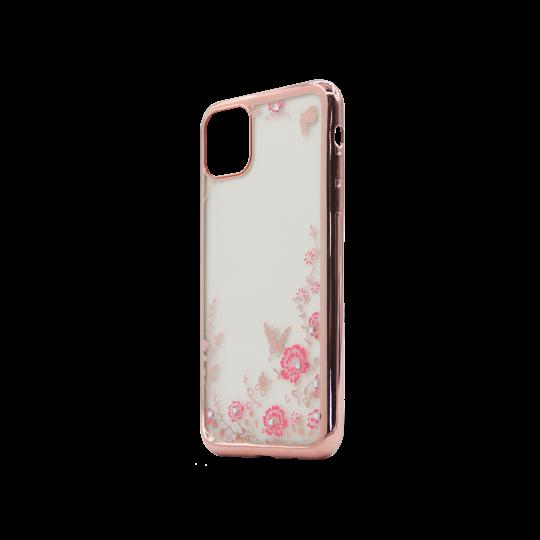 Apple iPhone 11 Pro Max - Gumiran ovitek (TPUE) - roza rob - roza rožice