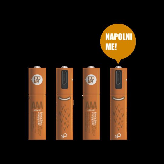 MicroUSB polnilne baterije AAA 1.2V/450mAh (4 kosi)