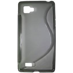 LG Optimus 4X HD - Gumiran ovitek (TPU) - sivo-prosojen SLine