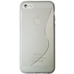 Apple iPhone 5/5S/SE - Gumiran ovitek (TPU) - belo-prosojen SLine