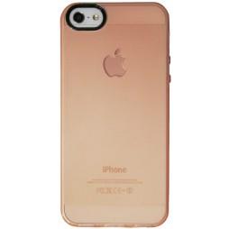 Apple iPhone 5/5S/SE - Gumiran ovitek (TPU) - sv.oranžno-prosojen črn krog