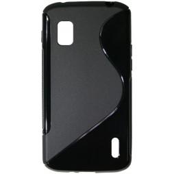 LG Nexus 4 - Gumiran ovitek (TPU) - črn SLine